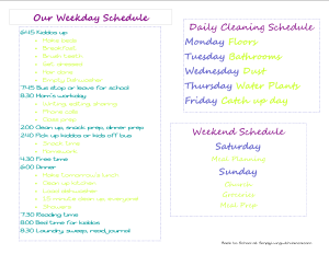 Our Schedule at SimplyLivingwithJanica.com